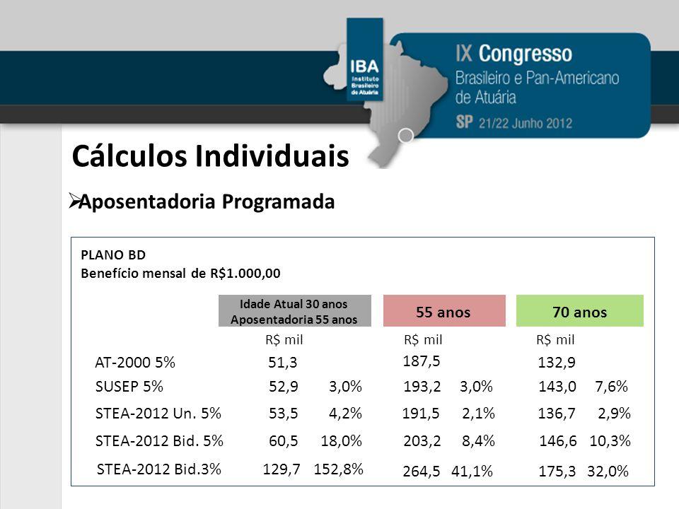 Cálculos Individuais Aposentadoria Programada PLANO BD Benefício mensal de R$1.000,00 AT-2000 5%51,3 SUSEP 5%52,93,0% STEA-2012 Bid. 5%60,518,0% STEA-