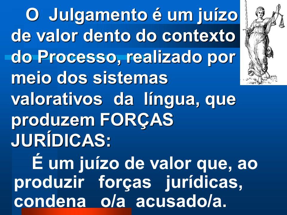 As palavras do JULGAMENTO produzem forças valorativas com poder Jurídico. As palavras do JULGAMENTO produzem forças valorativas com poder Jurídico.