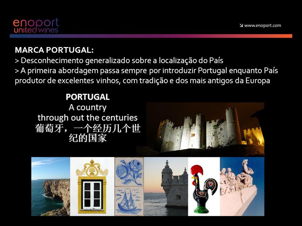 MARCA PORTUGAL: > Desconhecimento generalizado sobre a localização do País > A primeira abordagem passa sempre por introduzir Portugal enquanto País produtor de excelentes vinhos, com tradição e dos mais antigos da Europa