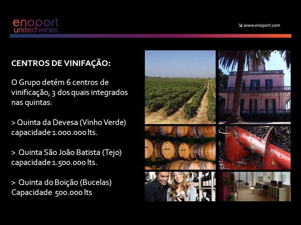 CENTROS DE VINIFAÇÃO: O Grupo detém 6 centros de vinificação, 3 dos quais integrados nas quintas: > Quinta da Devesa (Vinho Verde) capacidade 1.000.000 lts.
