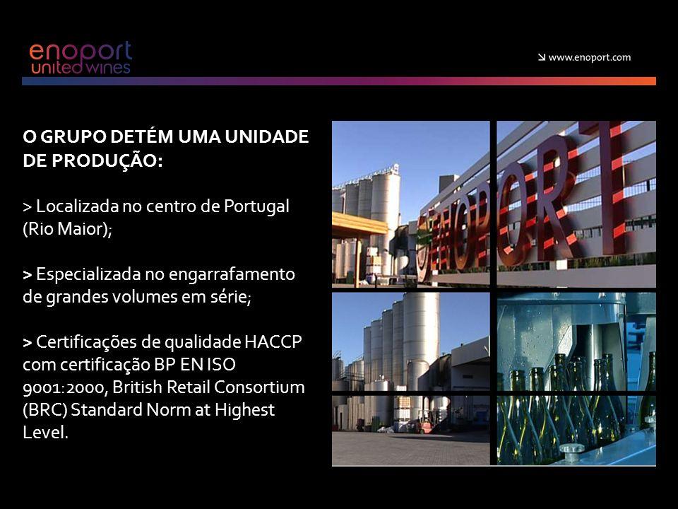 O GRUPO DETÉM UMA UNIDADE DE PRODUÇÃO: > Localizada no centro de Portugal (Rio Maior); > Especializada no engarrafamento de grandes volumes em série; > Certificações de qualidade HACCP com certificação BP EN ISO 9001:2000, British Retail Consortium (BRC) Standard Norm at Highest Level.