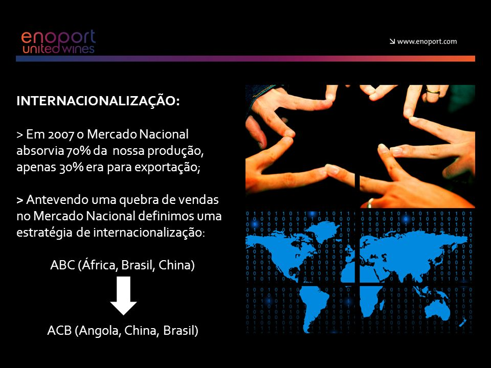 INTERNACIONALIZAÇÃO: > Em 2007 o Mercado Nacional absorvia 70% da nossa produção, apenas 30% era para exportação; > Antevendo uma quebra de vendas no Mercado Nacional definimos uma estratégia de internacionalização: ABC (África, Brasil, China) ACB (Angola, China, Brasil)