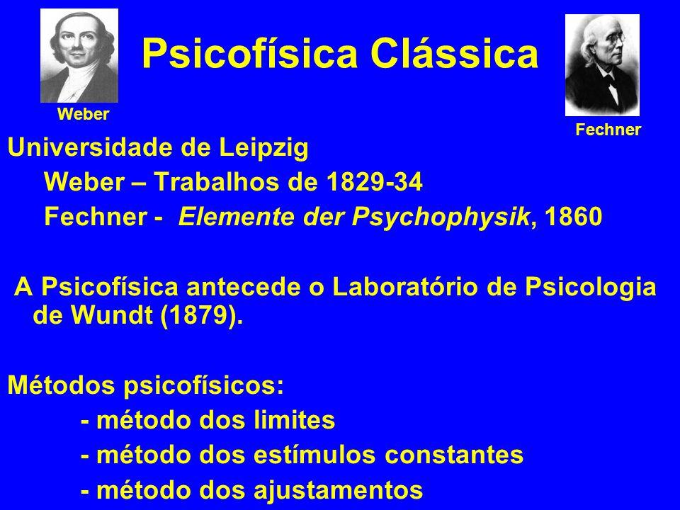 Psicofísica Clássica Universidade de Leipzig Weber – Trabalhos de 1829-34 Fechner - Elemente der Psychophysik, 1860 A Psicofísica antecede o Laboratório de Psicologia de Wundt (1879).
