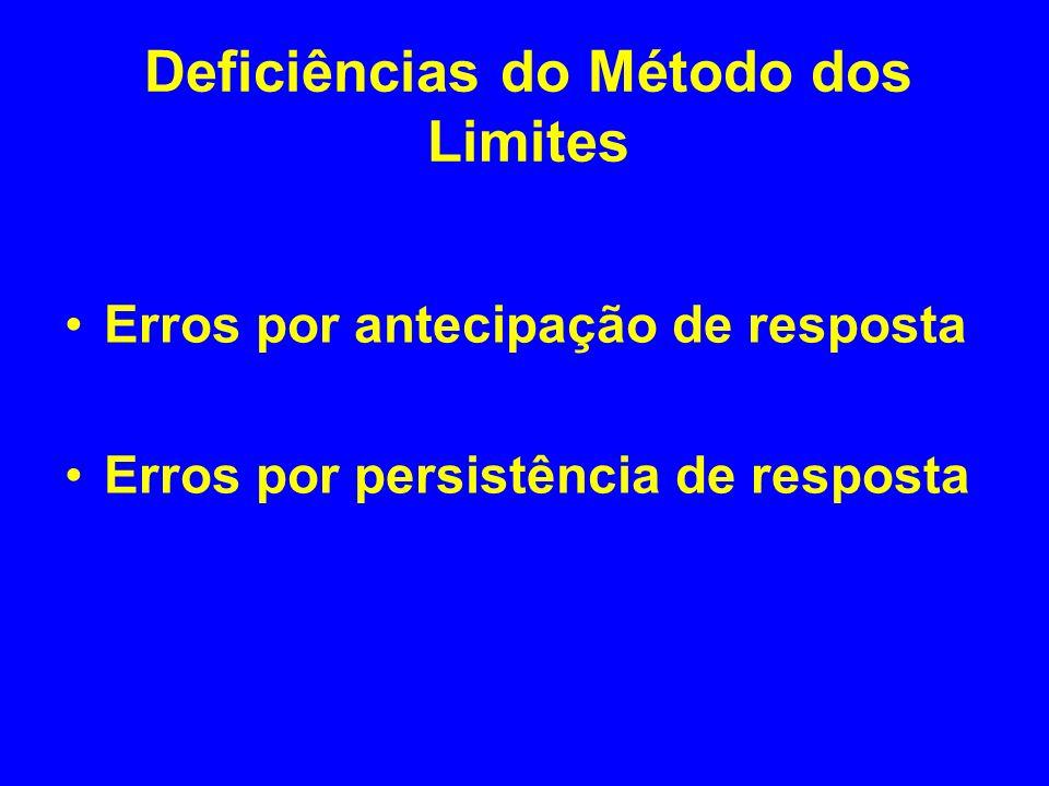 Deficiências do Método dos Limites Erros por antecipação de resposta Erros por persistência de resposta