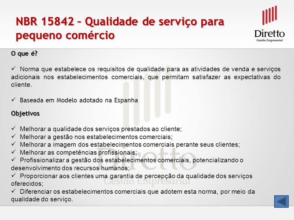 NBR 15842 – Qualidade de serviço para pequeno comércio O que é? Norma que estabelece os requisitos de qualidade para as atividades de venda e serviços