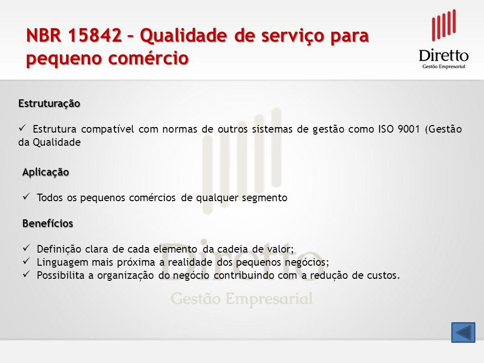 NBR 15842 – Qualidade de serviço para pequeno comércio Estruturação Estrutura compatível com normas de outros sistemas de gestão como ISO 9001 (Gestão