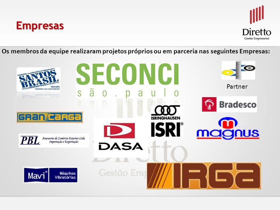 Empresas Os membros da equipe realizaram projetos próprios ou em parceria nas seguintes Empresas: Partner