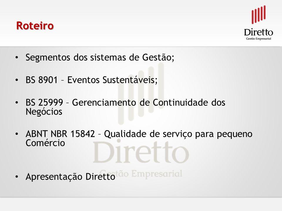 Roteiro Segmentos dos sistemas de Gestão; BS 8901 – Eventos Sustentáveis; BS 25999 – Gerenciamento de Continuidade dos Negócios ABNT NBR 15842 – Quali