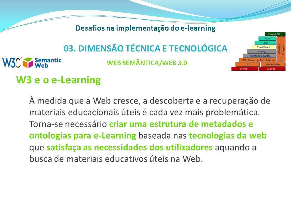 W3 e o e-Learning À medida que a Web cresce, a descoberta e a recuperação de materiais educacionais úteis é cada vez mais problemática. Torna-se neces
