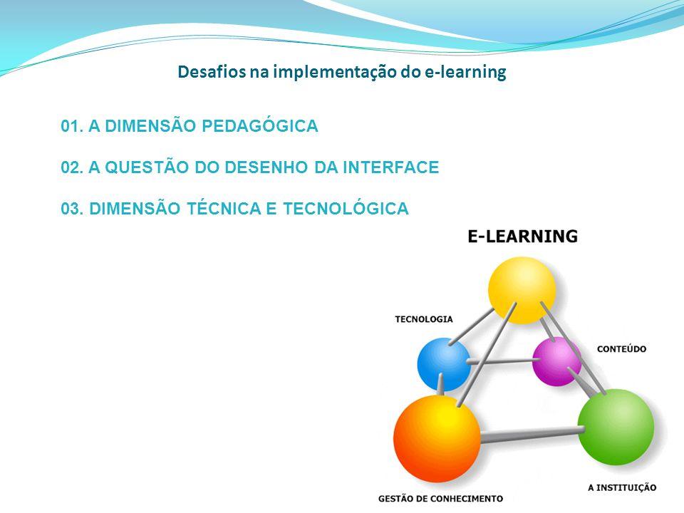 Desafios na implementação do e-learning 01. A DIMENSÃO PEDAGÓGICA 02. A QUESTÃO DO DESENHO DA INTERFACE 03. DIMENSÃO TÉCNICA E TECNOLÓGICA