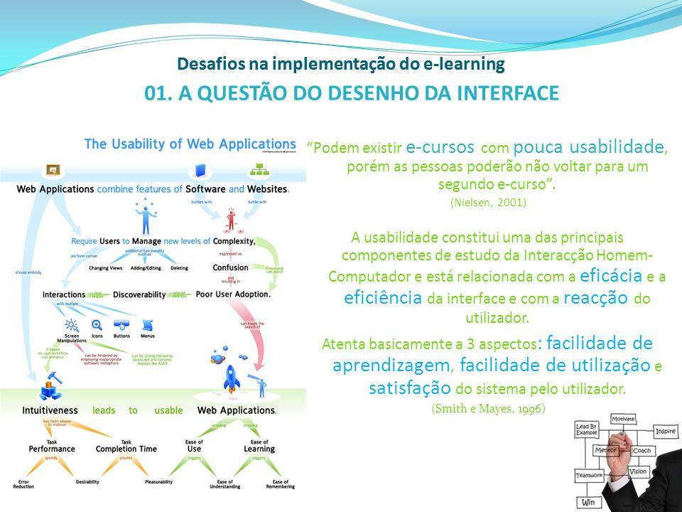 Desafios na implementação do e-learning DESENHO DA PÁGINA (site/plataforma…): Consistência e Previsibilidade no acesso à interface Quanto ao esquema de páginas; utilização das cores; estrutura de navegação.