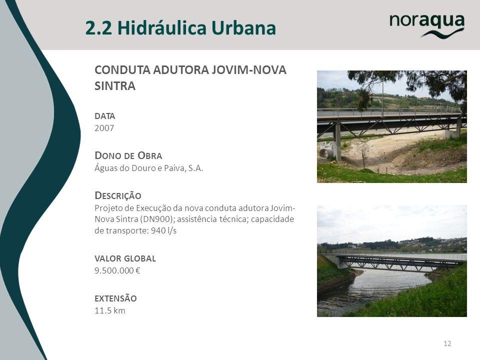 12 2.2 Hidráulica Urbana CONDUTA ADUTORA JOVIM-NOVA SINTRA DATA 2007 D ONO DE O BRA Águas do Douro e Paiva, S.A. D ESCRIÇÃO Projeto de Execução da nov
