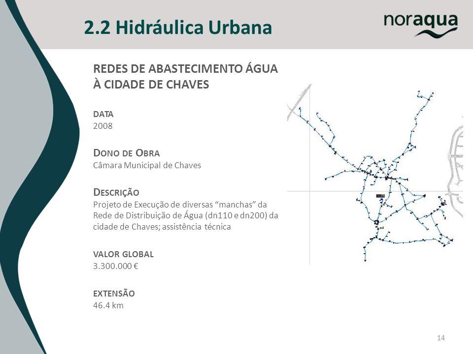 14 2.2 Hidráulica Urbana REDES DE ABASTECIMENTO ÁGUA À CIDADE DE CHAVES DATA 2008 D ONO DE O BRA Câmara Municipal de Chaves D ESCRIÇÃO Projeto de Execução de diversas manchas da Rede de Distribuição de Água (dn110 e dn200) da cidade de Chaves; assistência técnica VALOR GLOBAL 3.300.000 EXTENSÃO 46.4 km