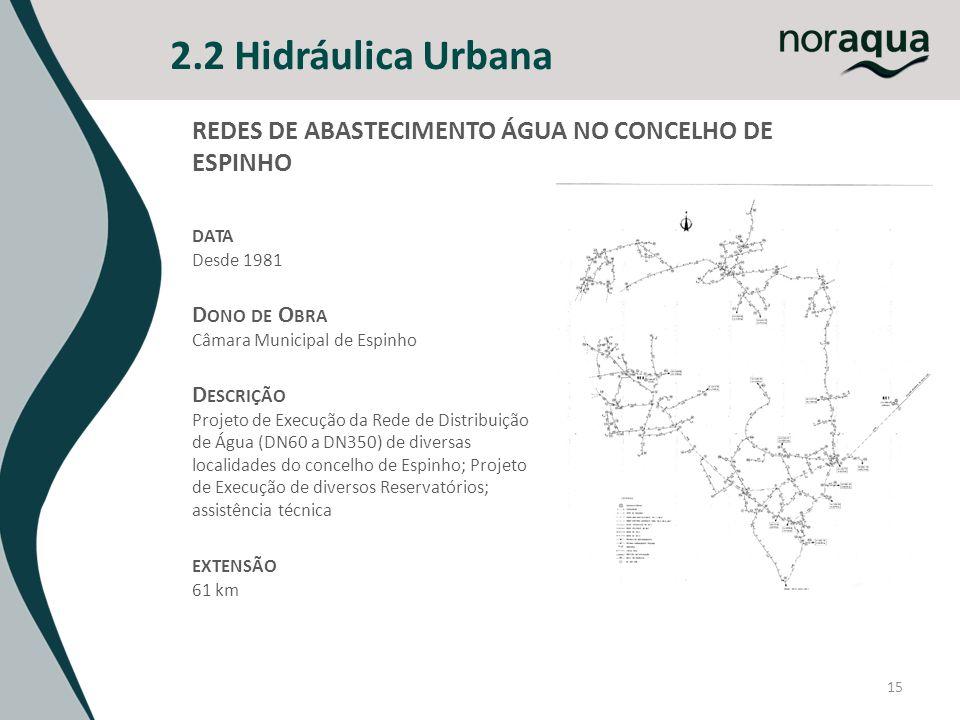 15 2.2 Hidráulica Urbana DATA Desde 1981 D ONO DE O BRA Câmara Municipal de Espinho D ESCRIÇÃO Projeto de Execução da Rede de Distribuição de Água (DN