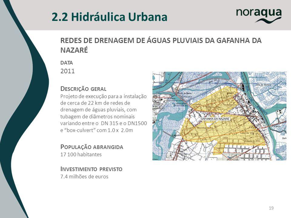 2.2 Hidráulica Urbana 19 REDES DE DRENAGEM DE ÁGUAS PLUVIAIS DA GAFANHA DA NAZARÉ DATA 2011 D ESCRIÇÃO GERAL Projeto de execução para a instalação de