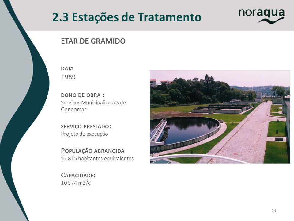21 2.3 Estações de Tratamento ETAR DE GRAMIDO DATA 1989 DONO DE OBRA : Serviços Municipalizados de Gondomar SERVIÇO PRESTADO : Projeto de execução P O