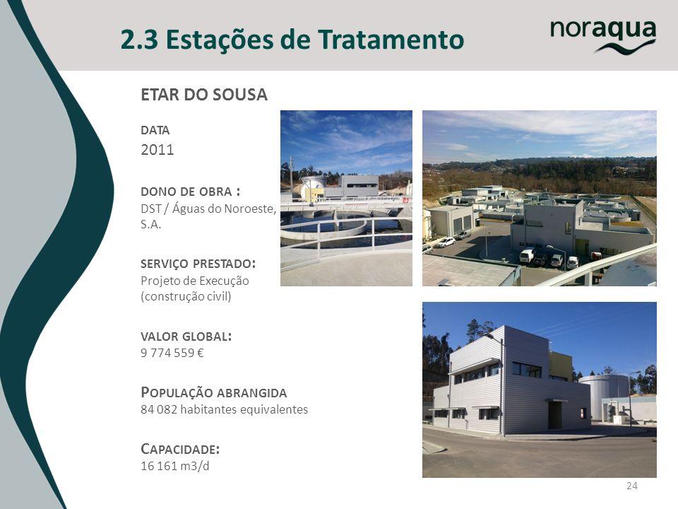 24 2.3 Estações de Tratamento ETAR DO SOUSA DATA 2011 DONO DE OBRA : DST / Águas do Noroeste, S.A. SERVIÇO PRESTADO : Projeto de Execução (construção