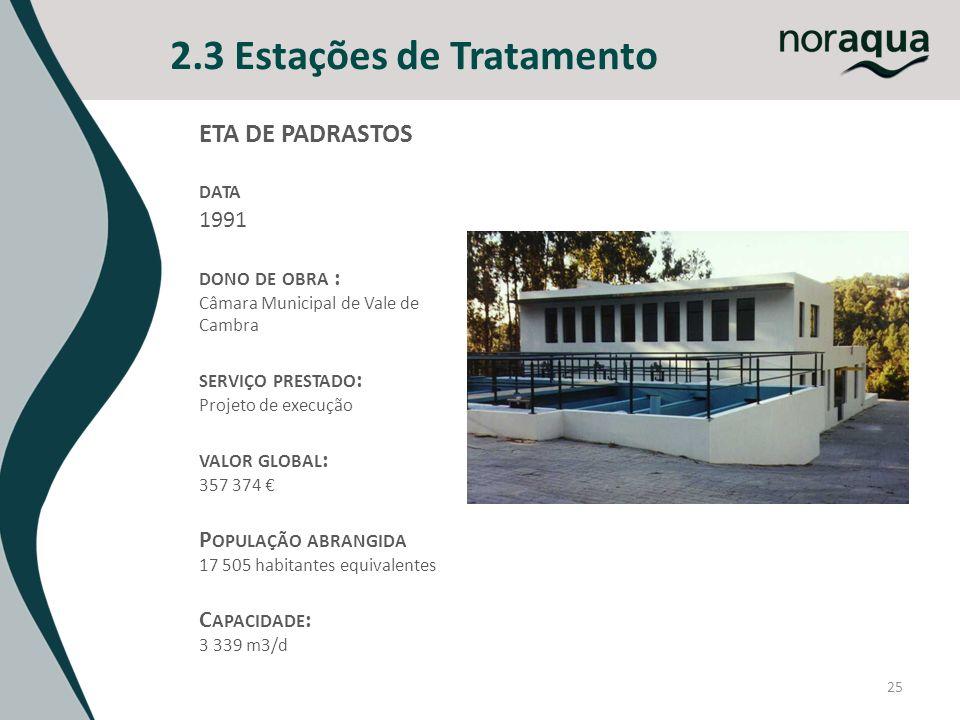 25 2.3 Estações de Tratamento ETA DE PADRASTOS DATA 1991 DONO DE OBRA : Câmara Municipal de Vale de Cambra SERVIÇO PRESTADO : Projeto de execução VALO