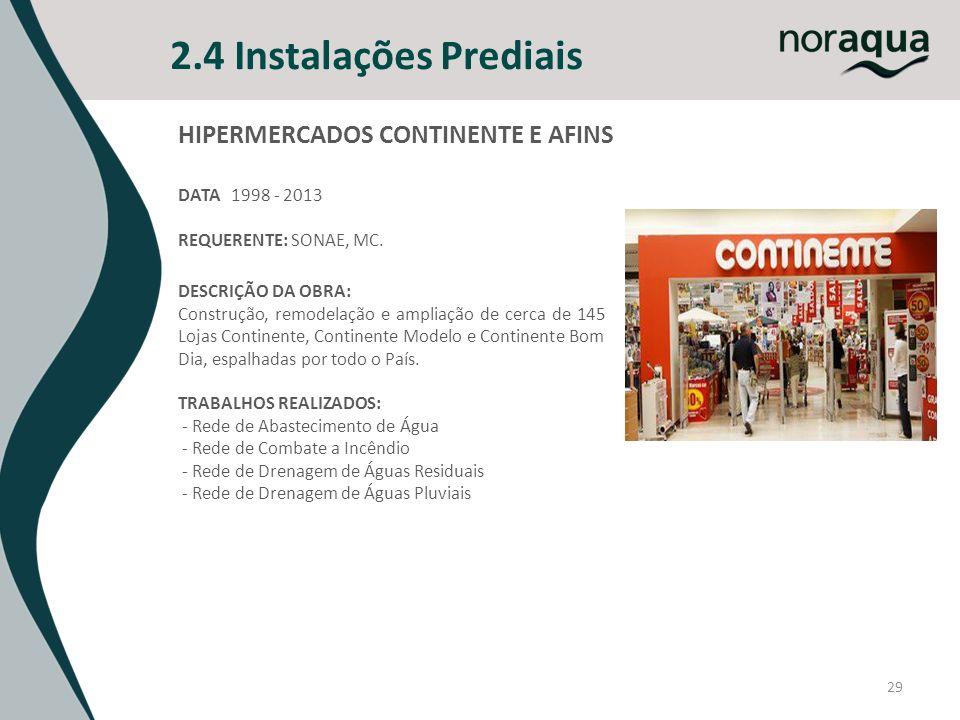 2.4 Instalações Prediais 29 HIPERMERCADOS CONTINENTE E AFINS DATA 1998 - 2013 REQUERENTE: SONAE, MC. DESCRIÇÃO DA OBRA: Construção, remodelação e ampl