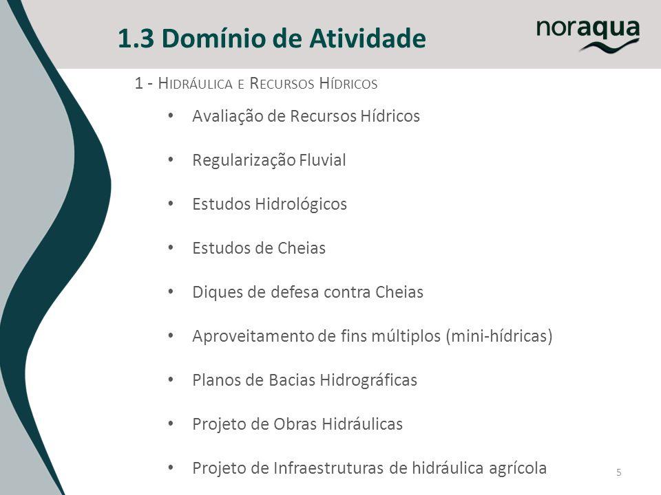 5 1.3 Domínio de Atividade 1 - H IDRÁULICA E R ECURSOS H ÍDRICOS Avaliação de Recursos Hídricos Regularização Fluvial Estudos Hidrológicos Estudos de
