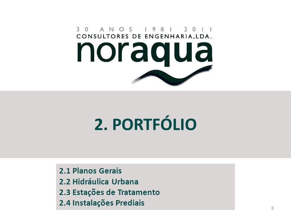 2. PORTFÓLIO 8 2.1 Planos Gerais 2.2 Hidráulica Urbana 2.3 Estações de Tratamento 2.4 Instalações Prediais