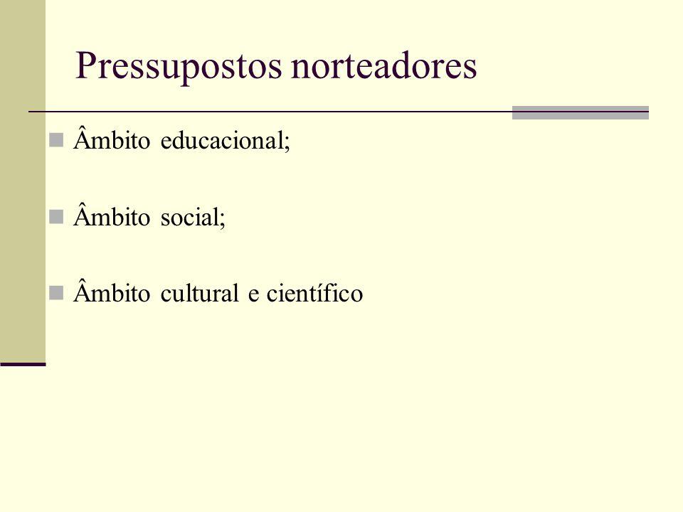Pressupostos norteadores Âmbito educacional; Âmbito social; Âmbito cultural e científico