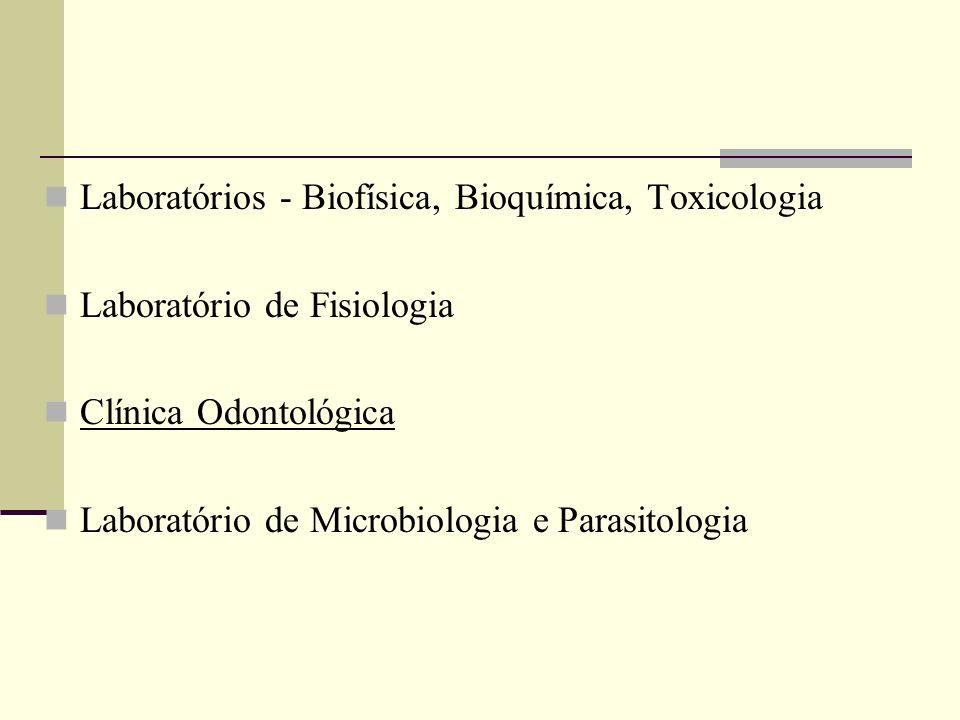 Laboratórios - Biofísica, Bioquímica, Toxicologia Laboratório de Fisiologia Clínica Odontológica Laboratório de Microbiologia e Parasitologia