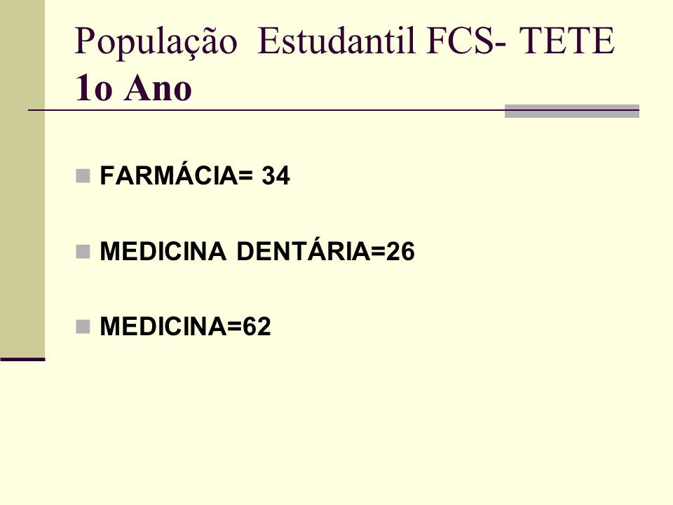População Estudantil FCS- TETE 1o Ano FARMÁCIA= 34 MEDICINA DENTÁRIA=26 MEDICINA=62