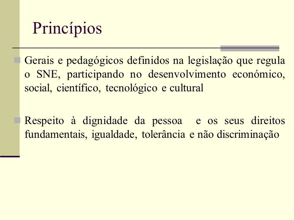 Princípios Gerais e pedagógicos definidos na legislação que regula o SNE, participando no desenvolvimento económico, social, científico, tecnológico e