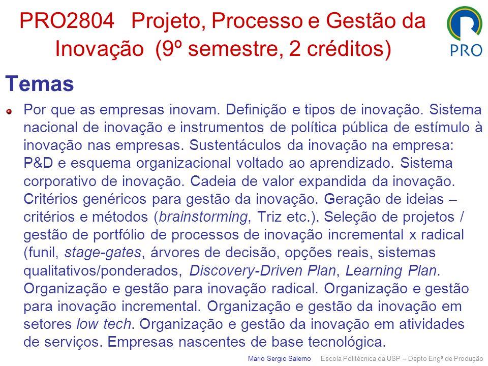 PRO2804 Projeto, Processo e Gestão da Inovação (9º semestre, 2 créditos) Temas Por que as empresas inovam. Definição e tipos de inovação. Sistema naci