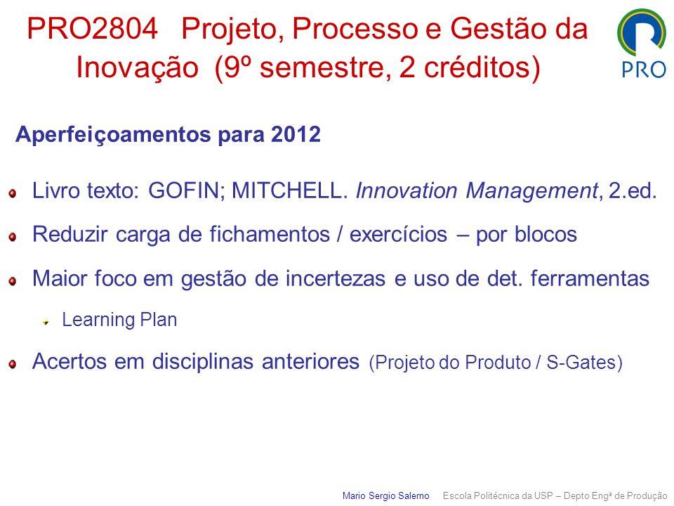 PRO2804 Projeto, Processo e Gestão da Inovação (9º semestre, 2 créditos) Aperfeiçoamentos para 2012 Livro texto: GOFIN; MITCHELL. Innovation Managemen