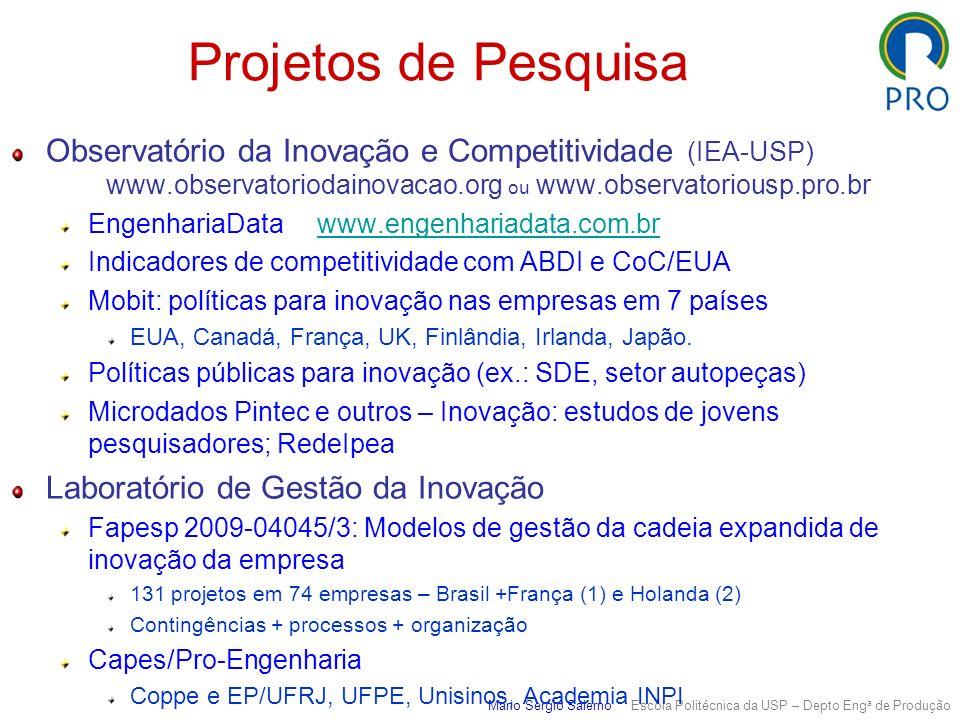 Projetos de Pesquisa Observatório da Inovação e Competitividade (IEA-USP) www.observatoriodainovacao.org ou www.observatoriousp.pro.br EngenhariaData
