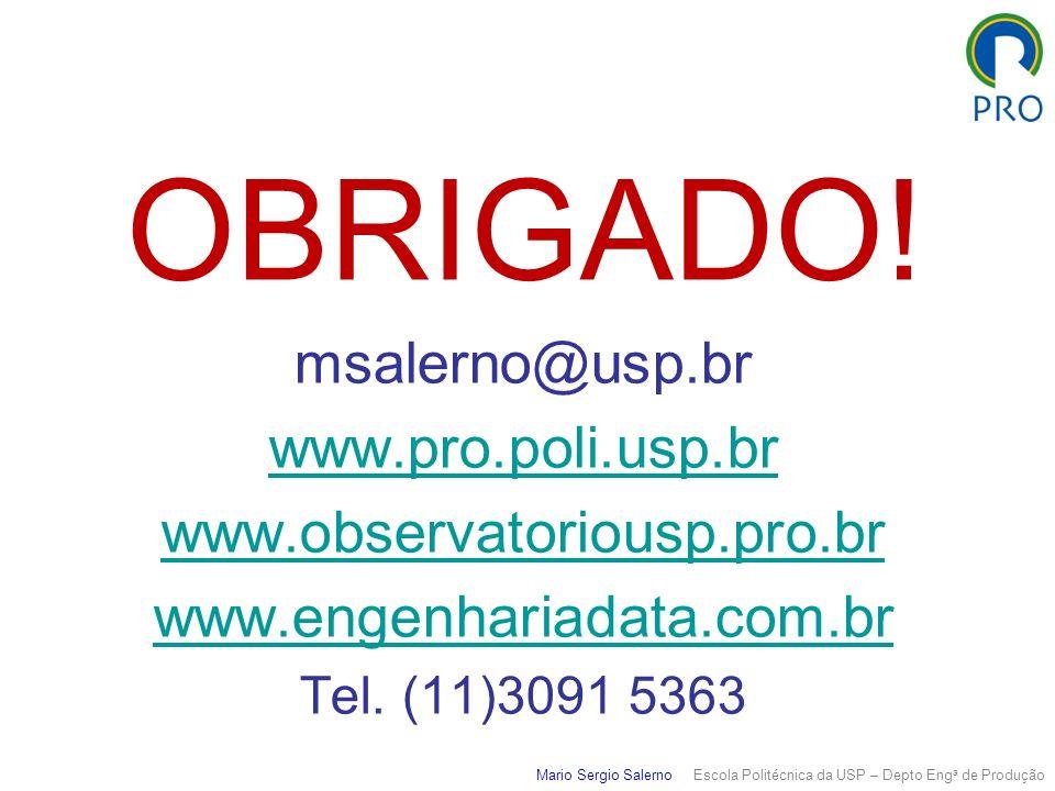 Mario Sergio Salerno Escola Politécnica da USP – Depto Eng a de Produção OBRIGADO! msalerno@usp.br www.pro.poli.usp.br www.observatoriousp.pro.br www.