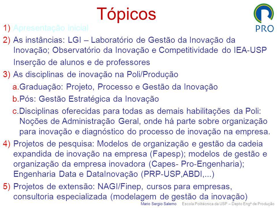 Laboratório de Gestão da Inovação Produção/Poli/USP www.pro.poli.usp.br Mario Sergio Salerno Escola Politécnica da USP – Depto Eng a de Produção Cursos Graduação Projeto, Processo e Gestão da Inovação (9º.sem) Pós-graduação Gestão Estratégica da Inovação Extensão Gestão da Inovação (modular) Projetos Fapesp: Modelos para organização e gestão da cadeia de valor expandida da inovação na empresa Impactos da Petrobras nas empresas de engenharia Extensionismo em organização / gestão da inovação NAGI, PEIEX Projeto Pro-Engenharia / Capes Gestão de Operações em Empresas Inovadoras – Com Coppe/UFRJ/PEP, DEI/UFRJ, Unisinos, INPI, UFPE `