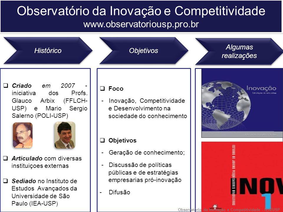 Criado em 2007 - iniciativa dos Profs. Glauco Arbix (FFLCH- USP) e Mario Sergio Salerno (POLI-USP) Histórico Objetivos Algumas realizações Articulado