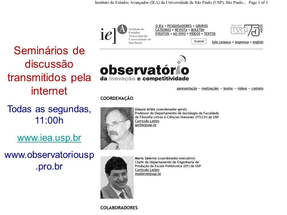 Mario Sergio Salerno Laboratório de Gestão da Inovação, Escola Politécnica da USP – Depto Eng a de Produção Seminários de discussão transmitidos pela