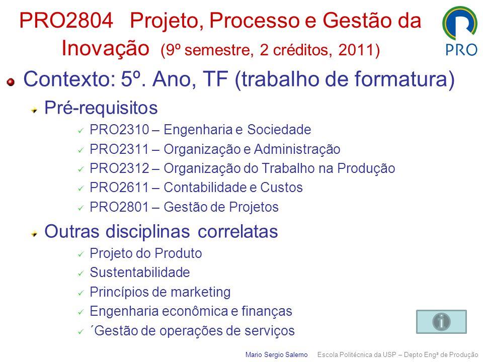 PRO2804 Projeto, Processo e Gestão da Inovação (9º semestre, 2 créditos, 2011) Contexto: 5º. Ano, TF (trabalho de formatura) Pré-requisitos PRO2310 –
