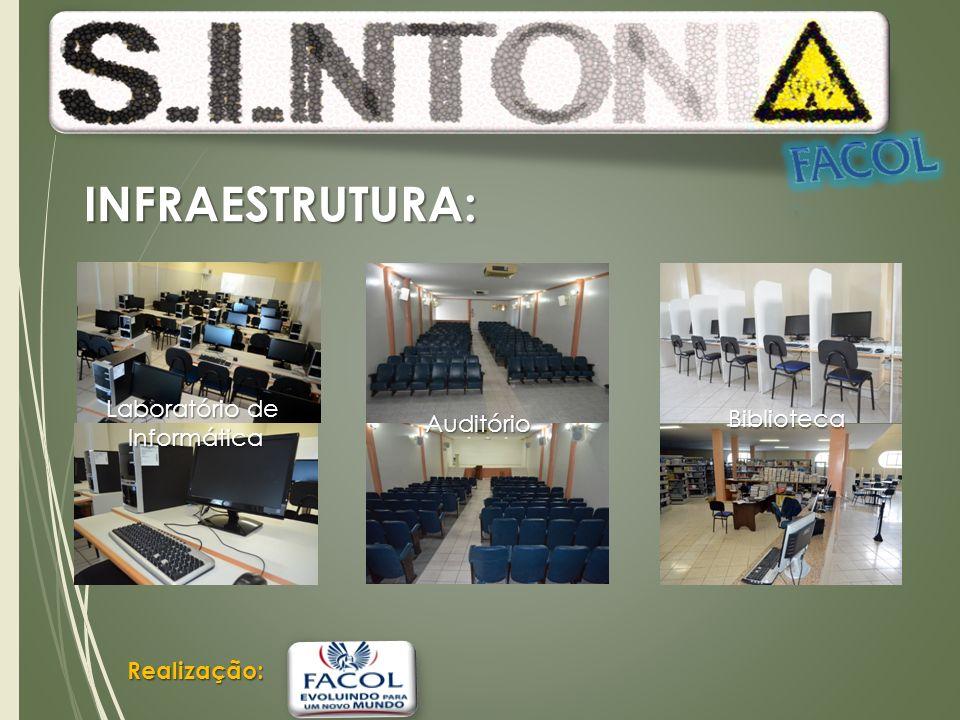 Realização: INFRAESTRUTURA: Auditório Laboratório de Informática Biblioteca