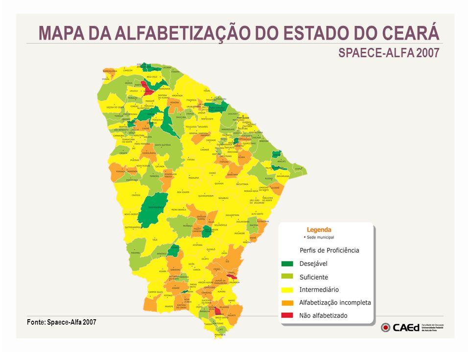 MAPA DA ALFABETIZAÇÃO DO ESTADO DO CEARÁ SPAECE-ALFA 2007 Fonte: Spaece-Alfa 2007