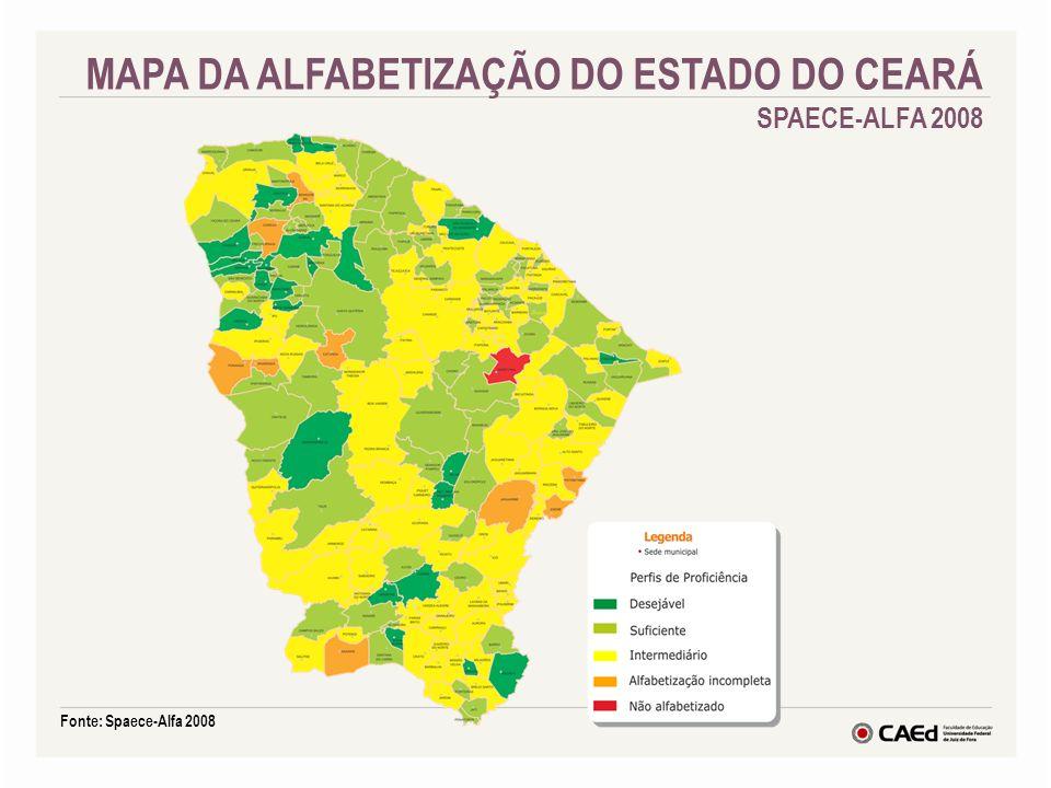 Fonte: Spaece-Alfa 2008 MAPA DA ALFABETIZAÇÃO DO ESTADO DO CEARÁ SPAECE-ALFA 2008