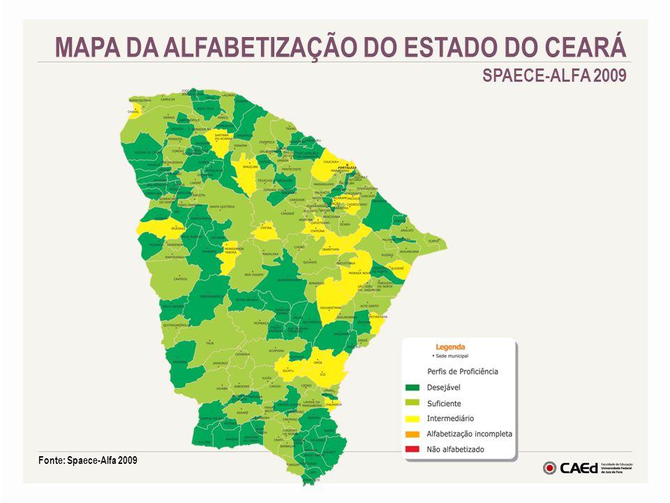 Fonte: Spaece-Alfa 2009 MAPA DA ALFABETIZAÇÃO DO ESTADO DO CEARÁ SPAECE-ALFA 2009