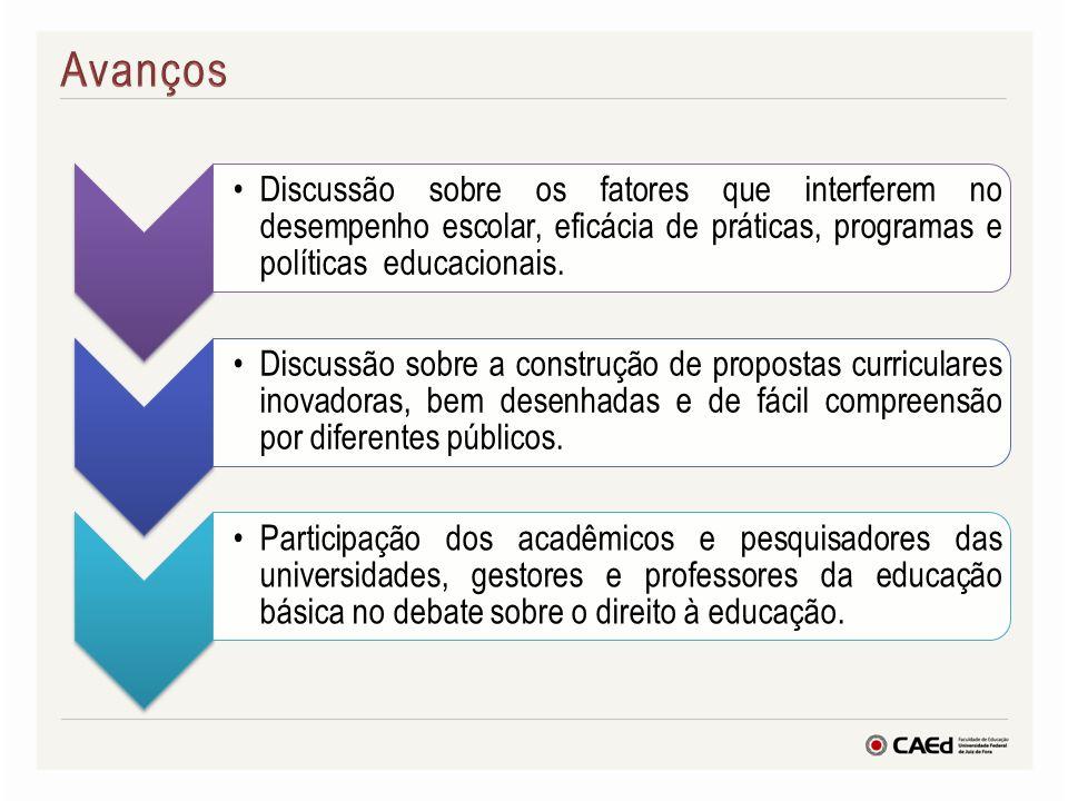 Discussão sobre os fatores que interferem no desempenho escolar, eficácia de práticas, programas e políticas educacionais. Discussão sobre a construçã