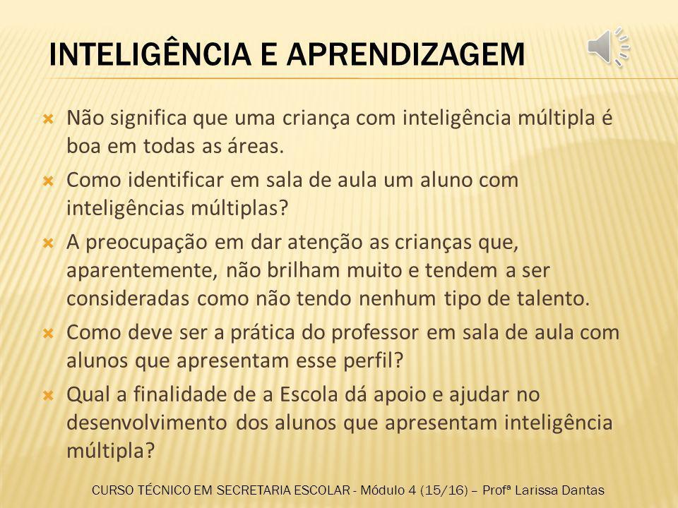 9. EXISTENCIAL Essa inteligência surge da capacidade humana de situar-se com os limites Aprendizagem mais investigativa Desenvolvimento da reflexão e