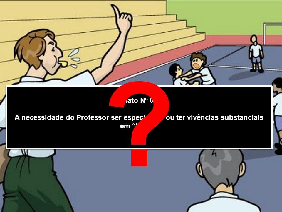 Relato Nº 01 : A necessidade do Professor ser especialista ou ter vivências substanciais em Lutas Relato Nº 01 : A necessidade do Professor ser especi