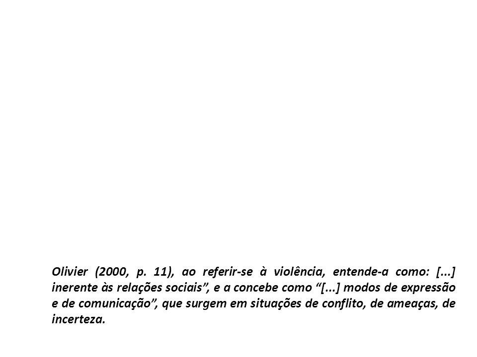 Olivier (2000, p. 11), ao referir-se à violência, entende-a como: [...] inerente às relações sociais, e a concebe como [...] modos de expressão e de c