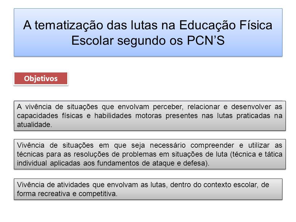 A tematização das lutas na Educação Física Escolar segundo os PCNS Objetivos Vivência de atividades que envolvam as lutas, dentro do contexto escolar,