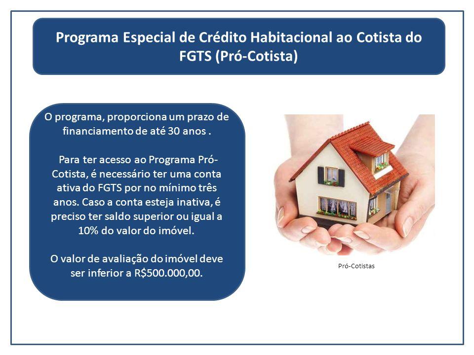 O programa, proporciona um prazo de financiamento de até 30 anos. Para ter acesso ao Programa Pró- Cotista, é necessário ter uma conta ativa do FGTS p