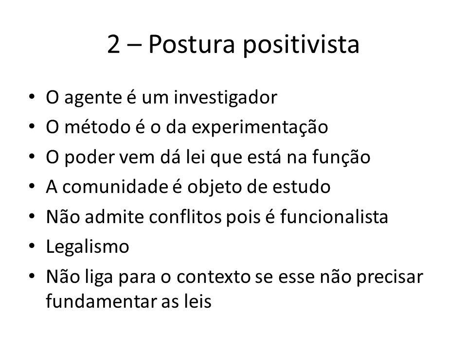 2 – Postura positivista O agente é um investigador O método é o da experimentação O poder vem dá lei que está na função A comunidade é objeto de estud