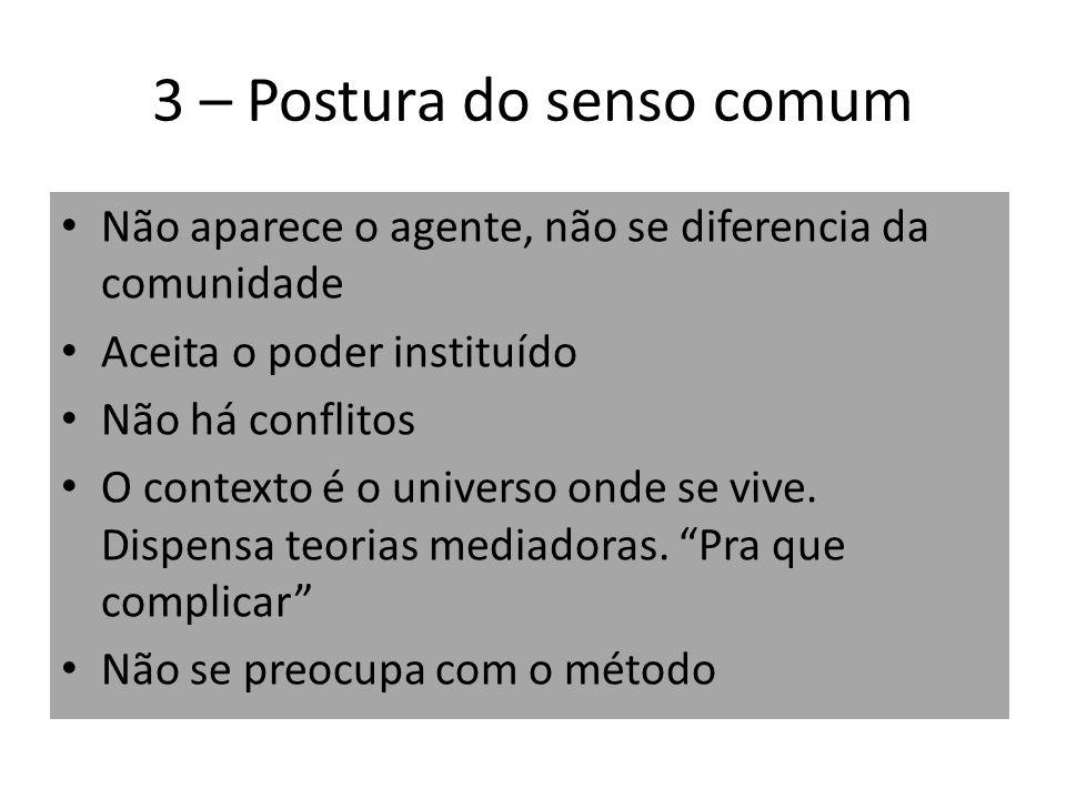 3 – Postura do senso comum Não aparece o agente, não se diferencia da comunidade Aceita o poder instituído Não há conflitos O contexto é o universo on
