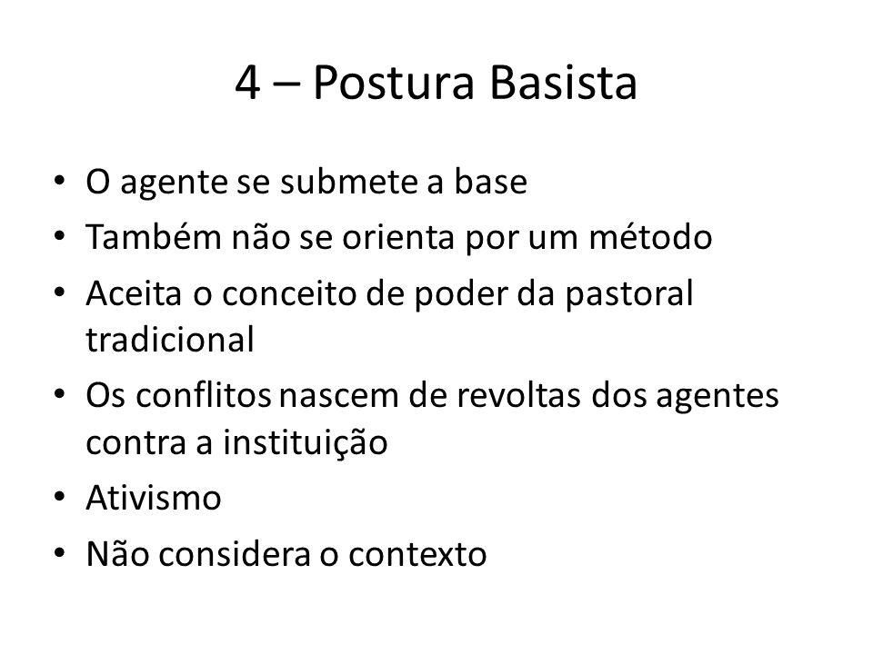 4 – Postura Basista O agente se submete a base Também não se orienta por um método Aceita o conceito de poder da pastoral tradicional Os conflitos nas